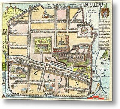 1650 Fuller Map Of Jerusalem Israel Palestine  Holy Land Geographicus Jerusalem Fuller 1650 Metal Print by MotionAge Designs