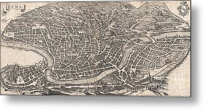 1652 Merian Panoramic View Or Map Of Rome Italy Metal Print