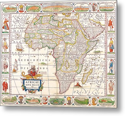 1658 Antique Africa Map Metal Print by Dan Sproul