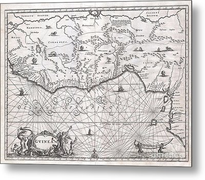 1670 Ogilby Map Of West Africa  Gold Coast Slave Coast Ivory Coast Metal Print by Paul Fearn