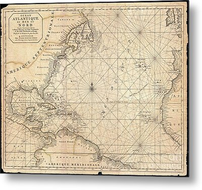1683 Mortier Map Of North America The West Indies And The Atlantic Ocean  Metal Print