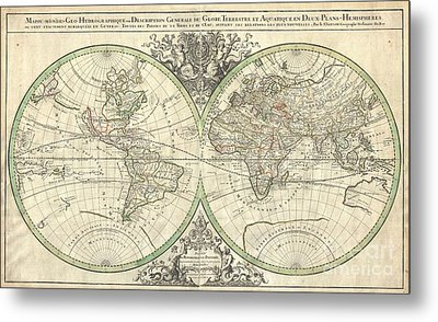 1691 Sanson Map Of The World On Hemisphere Projection Metal Print by Paul Fearn