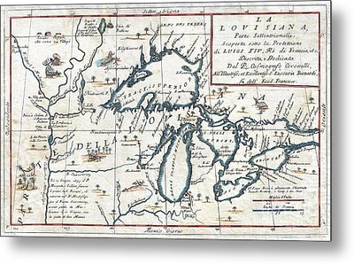 1696 Coronelli Map Of The Great Lakes Metal Print by Paul Fearn