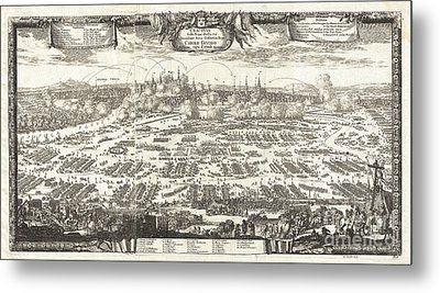 1697 Pufendorf View Of Krakow Cracow Poland Metal Print by Paul Fearn