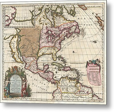 1698 Louis Hennepin Map Of North America Metal Print by Paul Fearn