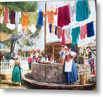Metal Print featuring the painting 16th Century Washday by Ike Krieger