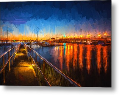 Bridge Of Lions St Augustine Florida Painted  Metal Print by Rich Franco