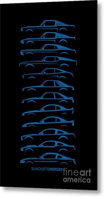 Ford Mustang Silhouettehistory Metal Print