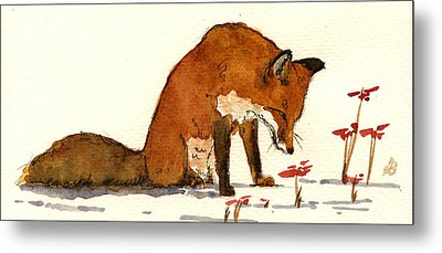 Red Fox Metal Print by Juan  Bosco
