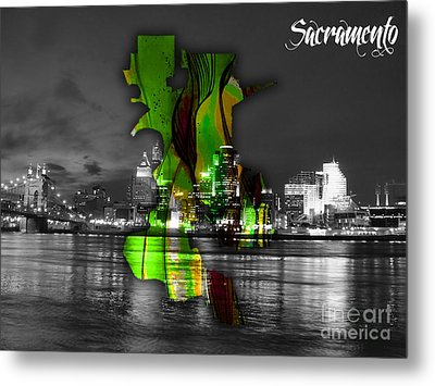 Sacramento Map And Skyline Watercolor Metal Print by Marvin Blaine