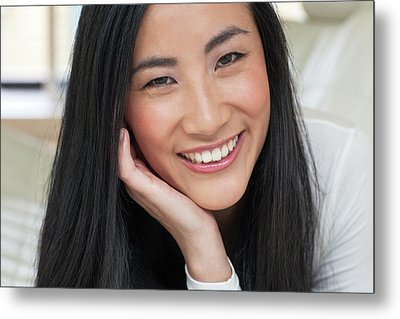 Woman Smiling Metal Print by Ian Hooton
