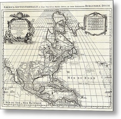 1708 De Lisle Map Of North America Metal Print by Paul Fearn