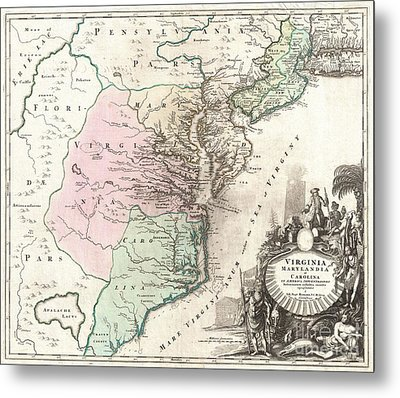 1715 Homann Map Of Carolina Virginia Maryland And New Jersey Metal Print by Paul Fearn