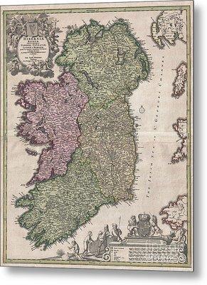 1716 Homann Map Of Ireland Metal Print by Paul Fearn
