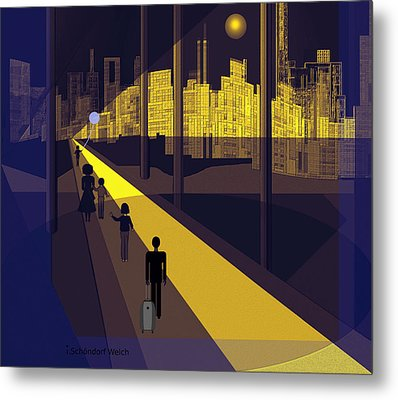 172 -  Nightwalking To The Golden City  Metal Print by Irmgard Schoendorf Welch