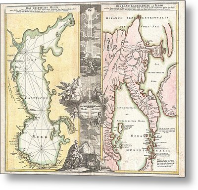 1725 Homann Map Of The Caspian Sea And Kamchatka Metal Print by Paul Fearn