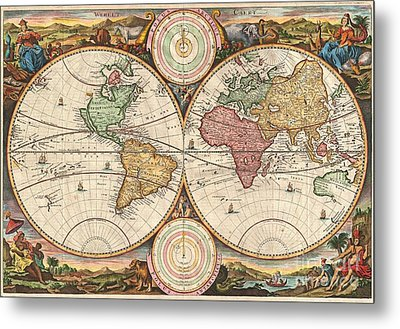 1730 Stoopendaal Map Of The World In Two Hemispheres  Metal Print by Paul Fearn