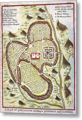 1730 Street Map Or Plan Of Jerusalem Geographicus Jerusalem Uk 1730 Metal Print by MotionAge Designs