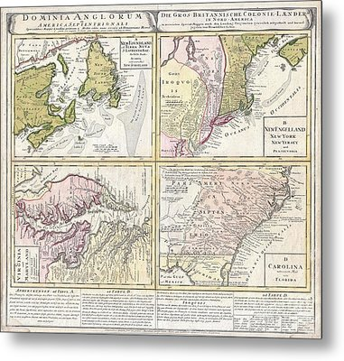 1737 Homann Heirs Map Of New England Georgia And Carolina And Virginia And Maryland Metal Print