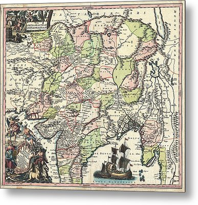 1740 Seutter Map Of India Pakistan Tibet And Afghanistan Metal Print by Paul Fearn