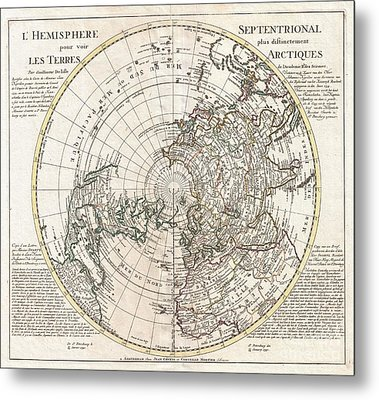 1741 Covens And Mortier Map Of The Northern Hemisphere  North Pole Arctic Metal Print by Paul Fearn