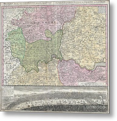 1741 Homann View And Map Of London Metal Print