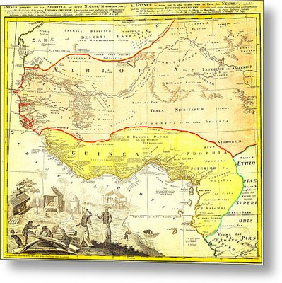 1743 Homann Heirs Map Of West Africa Slave Trade References Guinea Geographicus Aethiopia Hmhr 1743 Metal Print