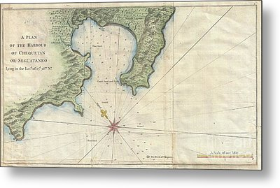 1745 Anson Map Or Chart Of Zihuatanejo Harbor Mexico Metal Print