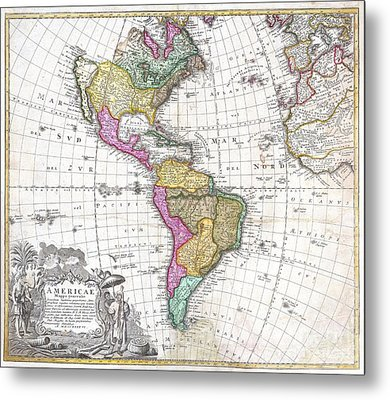1746 Homann Heirs Map Of South And North America Metal Print