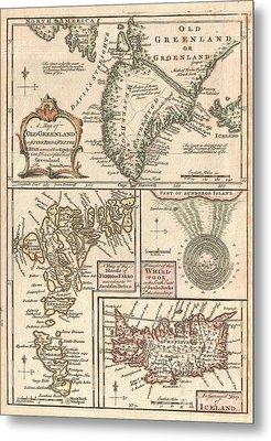 1747 Bowen Map Of The North Atlantic Islands Greenland Iceland Faroe Islands Metal Print by Paul Fearn