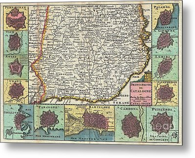 1747 La Feuille Map Of Catalonia Spain Metal Print