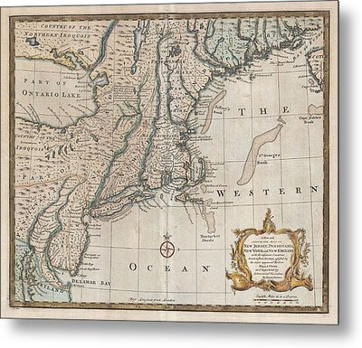 1747 New Jersey Map Metal Print by Dan Sproul
