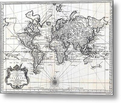 Metal Print featuring the photograph 1748 Antique World Map Versuch Von Einer Kurzgefassten Karte  by Karon Melillo DeVega