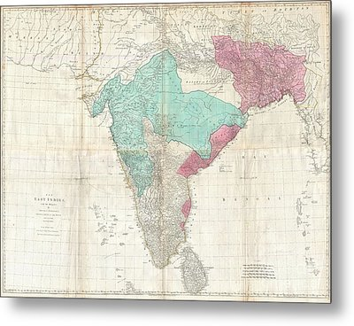 1768 Jeffreys Wall Map Of India And Ceylon Metal Print by Paul Fearn