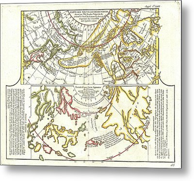 1772 Vaugondy Diderot Map Of Alaska The Pacific Northwest And The Northwest Passage Metal Print by Paul Fearn
