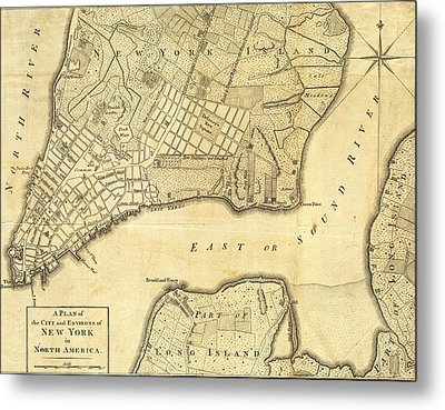 1776 New York City Map Metal Print by Dan Sproul