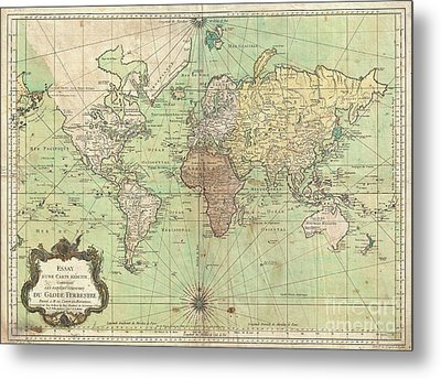1778 Bellin Nautical Chart Or Map Of The World Metal Print
