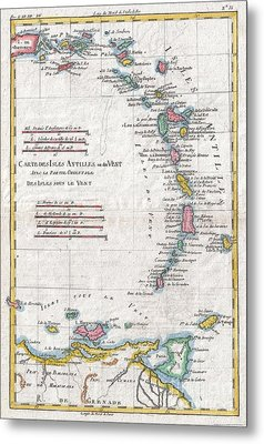1780 Raynal And Bonne Map Of Antilles Islands Metal Print