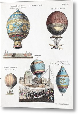 1783 World's First Flying Balloons Design Metal Print by Paul D Stewart