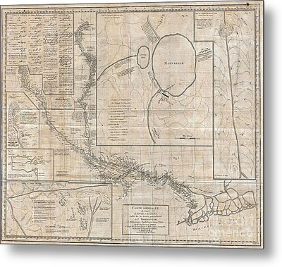 1784 Tiefenthaler Map Of The Ganges And Ghaghara Rivers India Metal Print by Paul Fearn