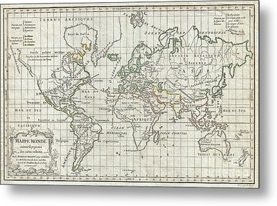 1784 Vaugondy Map Of The World On Mercator Projection Metal Print