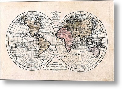 Metal Print featuring the photograph 1791 Antique World Map Die Funf Theile Der Erde by Karon Melillo DeVega