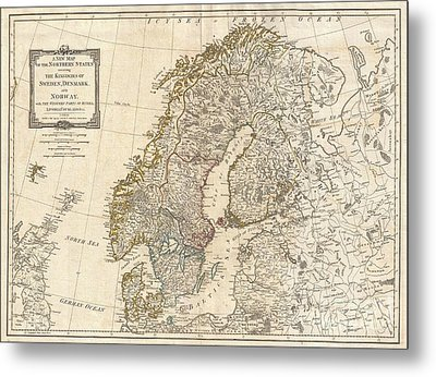 1794 Laurie And Whittle Map Of Norway Sweden Denmark And Finland Metal Print
