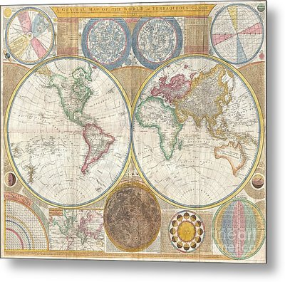 1794 Samuel Dunn Wall Map Of The World In Hemispheres Metal Print