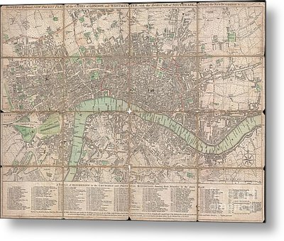 1795 Bowles Pocket Map Of London Metal Print