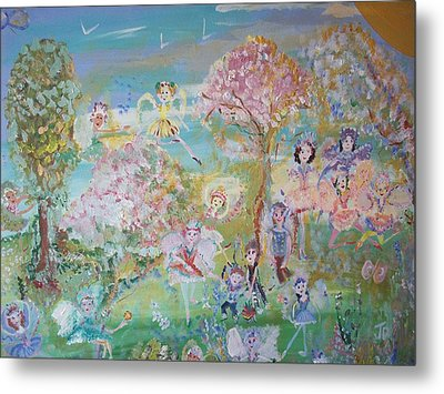 Metal Print featuring the painting 18 Fairy Party In Fairyland by Judith Desrosiers
