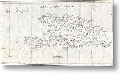 1800 Stockdale Map Of Hispaniola Or Santo Domingo West Indies Haiti Dominican Republic Metal Print
