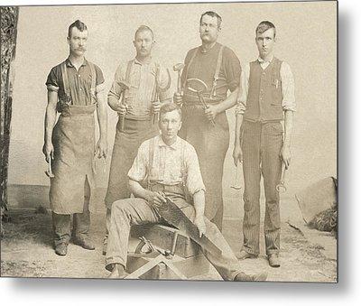 1800's Vintage Photo Of Blacksmiths Metal Print by Charles Beeler