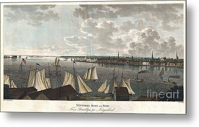 1824 Klinkowstrom View Of New York City From Brooklyn  Metal Print by Paul Fearn