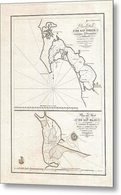1825 Victoria Map Of San Diego California And San Blas Mexico  Metal Print by Paul Fearn
